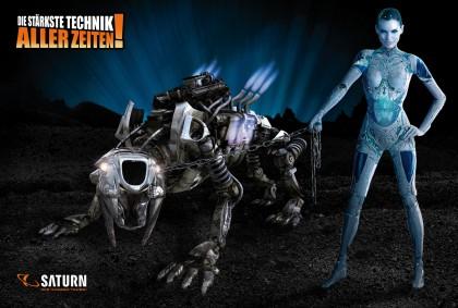 Девушка-робот держит на привязи механическую саблезубую кошку