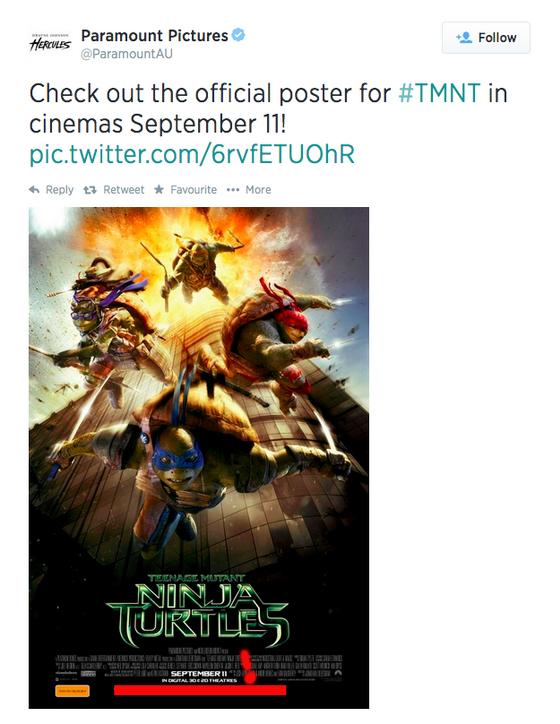 Нашумевший постер фильма Черепашки-ниндзя2014 - твиттер