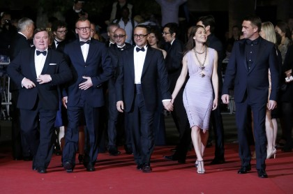 "Director Andrey Zvyagintsev, cast members Roman Madyanov,  Aleksey Serebryakov, Elena Lyadova and Vladimir Vdovichenkov pose on the red carpet as they arrive for the screening of the film ""Leviathan"" in competition at the 67th Cannes Film Festival"