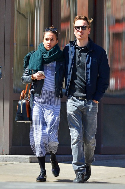 EXCLUSIVE: Michael Fassbender out in Soho with girlfriend Alicia Vikander
