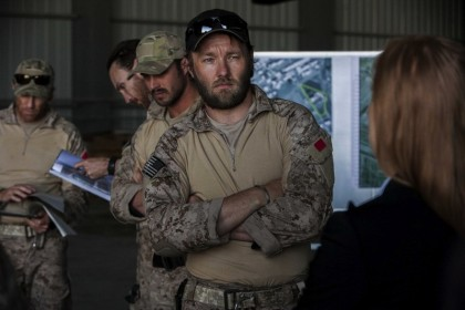 Joel Edgerton (center) plays a member of SEAL Team Six in Columbia Pictures' thriller ZERO DARK THIRTY.