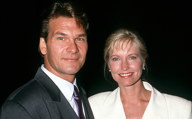 """Actor Patrick Swayze and wife Lisa Niemi attend the opening of """"Love Letters"""" on October 17, 1991 at the Cannon Theater in Beverly Hills, California."""