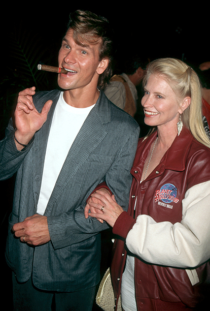 Actor Patrick Swayze and wife Lisa Niemi attend grand opening of Planet Hollywood on September 17, 1995 in Beverly Hills, California.