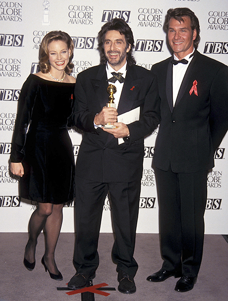 Actress Jodie Foster, actor Al Pacino and actor Patrick Swayze attend the 50th Annual Golden Globe Awards on January 23, 1993 at Beverly Hilton Hotel in Beverly Hills, California. (Photo by Ron Galella, Ltd./WireImage)