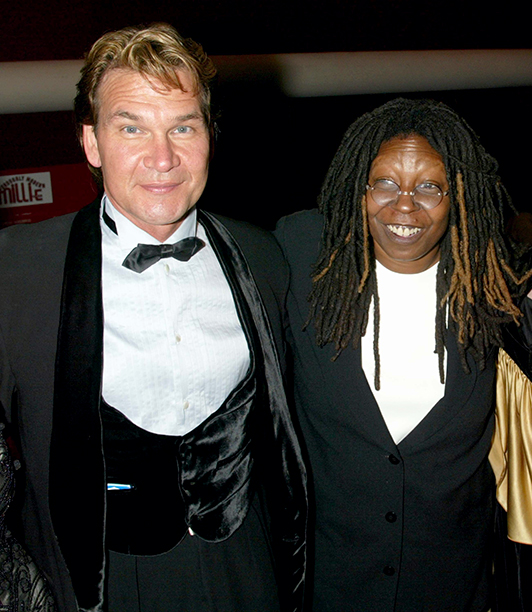 Patrick Swayze & Whoopi Goldberg during New York Opening Night Of Thoroughly Modern Millie at Marriott Marquis Theatre and Ballroom in New York City, New York, United States. (Photo by Jim Spellman/WireImage)