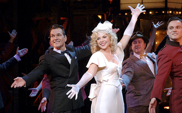 LONDON - OCTOBER 16: (EMBARGOED FOR PUBLICATION IN UK TABLOID NEWSPAPERS UNTIL 48 HOURS AFTER CREATE DATE AND TIME) (L-R) Patrick Swayze, Samantha Janus and Norman Bowman on stage during their first performance together in the stage production of ''Guys And Dolls'' at the Piccadilly Theatre on October 16, 2006 in London, England. (Photo by Dave Benett/Getty Images)
