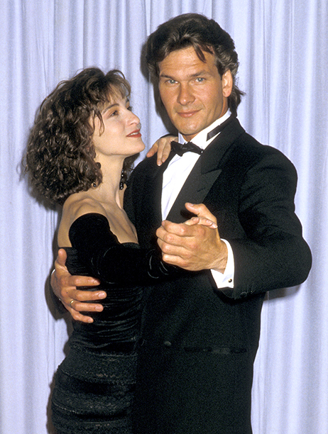 LOS ANGELES - APRIL 11: (FILE PHOTO) Actors Jennifer Grey and Patrick Swayze attend the 60th Annual Academy Awards at the Shrine Auditorium on April 11, 1988 in Los Angeles, California. (Photo by Jim Smeal/WireImage)